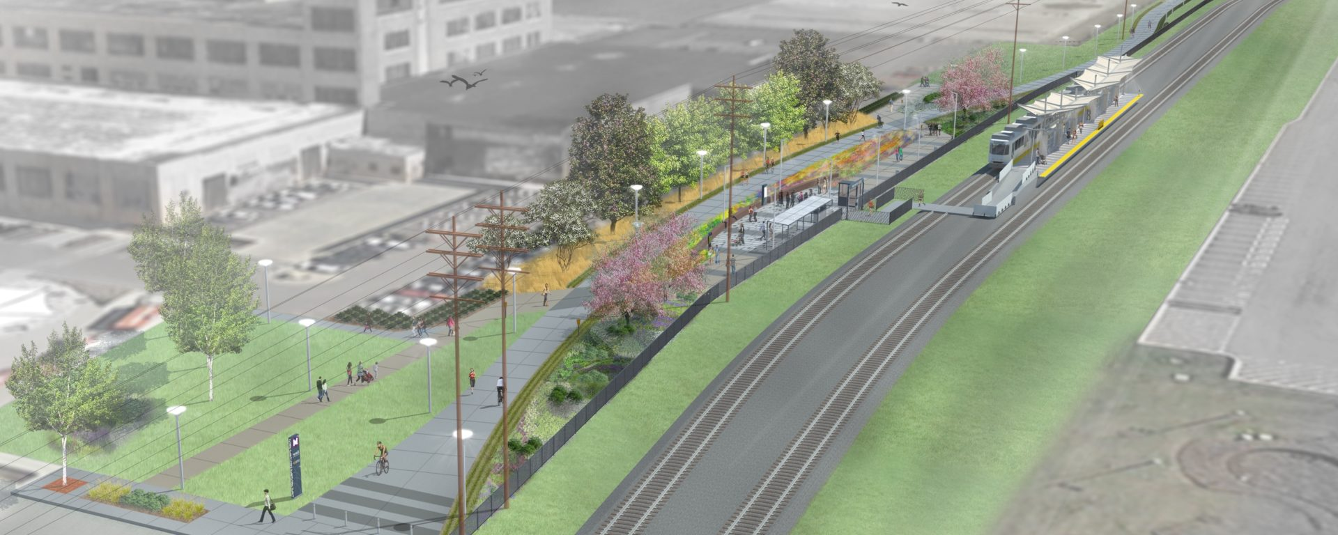 architectural rendering of an urban metro train station in the Cortex Innovation Community, St. Louis, Missiouri.
