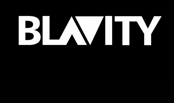 Blavity logo in white reversed out on a black background