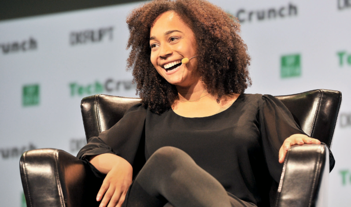 Blavity cofounder Morgan DeBaun on stage at a tech conference