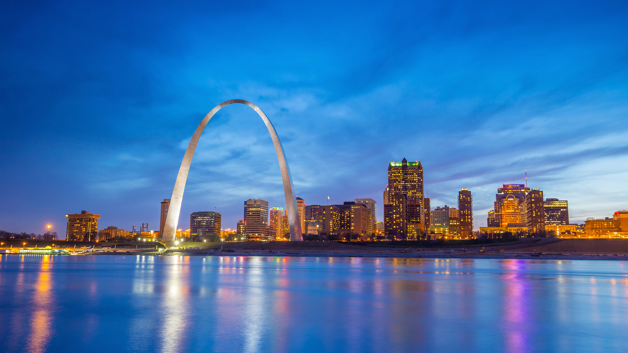 Gateway Arch at twilight over downtown St. Louis