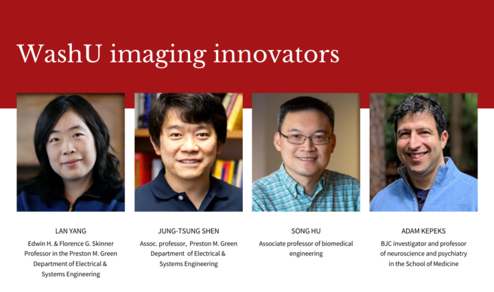 Headshots of WashU researchers with a red title header